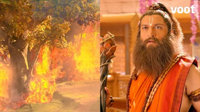 A fire at Valmiki's hermitage!